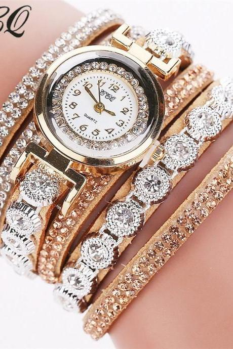 Crystals Rhinestones wrap bracelet beige band fashion rhinestones woman dress watch