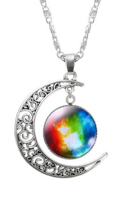 Galaxy Space Red Fantasy Moon Space Teen Colorful Love you to the Moon and Back Pendant Necklace
