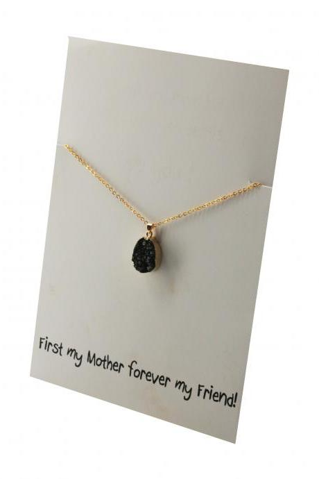 First my Mother Forever my Friend Natural Stone Black Toned Pendant Necklace