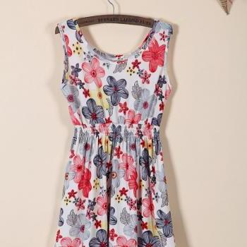 Big flowers summer casual girl dress