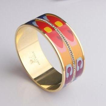 Hippie rainbow metal bangle woman bracelet