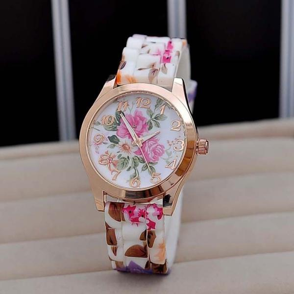 Roses rubber school teen casual girl watch