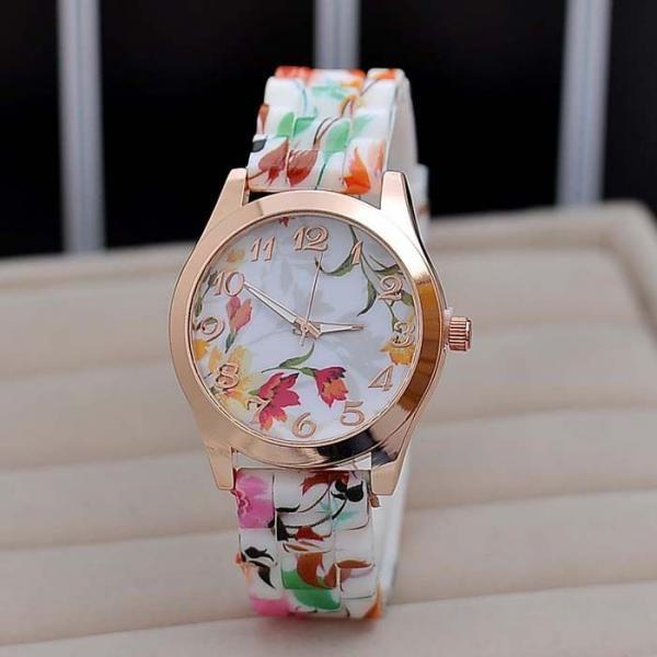 Flowers rubber trendy schoolgirl watch