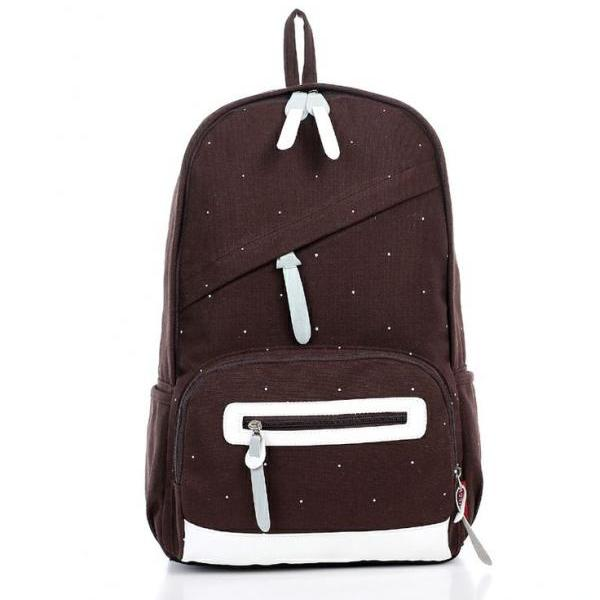 New brwon school canvas girl backpack
