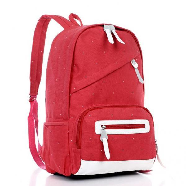 New fashion red canvas girl backpack