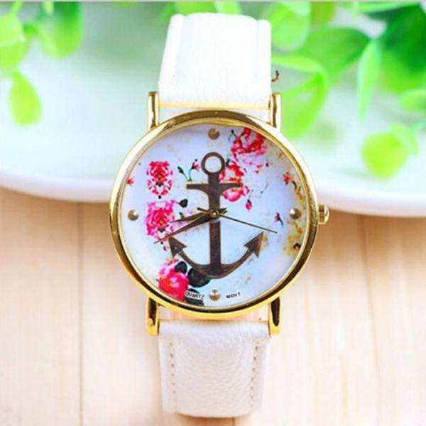 Flowers anchor leather unisex teen sailor watch