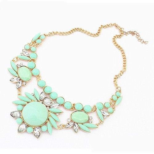 Flower jewelry green club night out party girl necklace