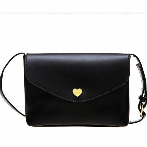 Envelope heart black button woman handbag