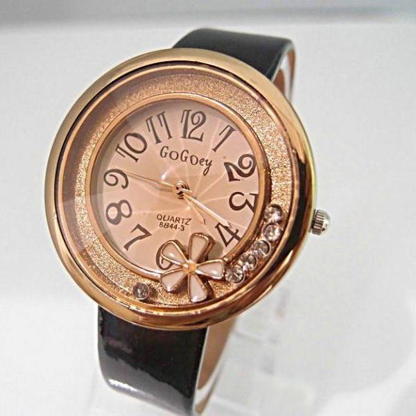 Trendy flower PU leather black strap school girl watch