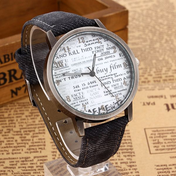 Newspaper face cool teen black unisex watch