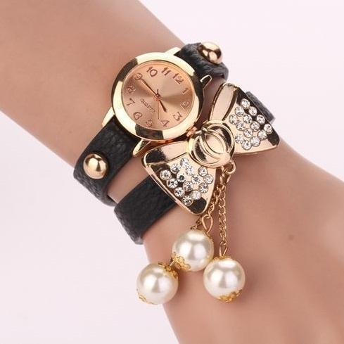 Bow knot dress fashion black rhinestones woman watch