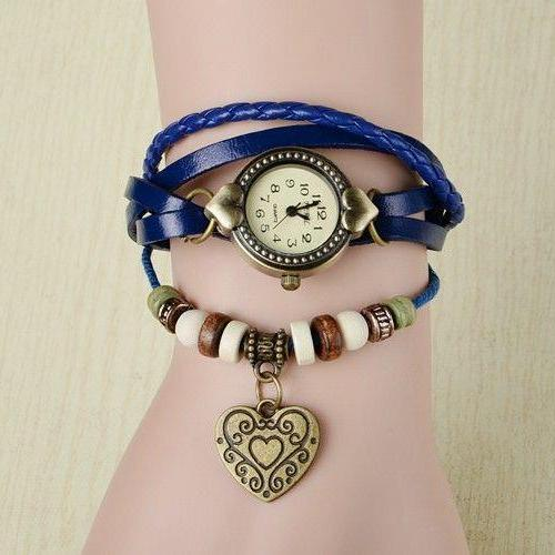 Wrap love heart pendant teenage casual blue girl watch