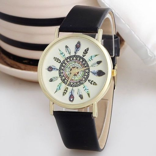Indian vintage style black strap girl watch