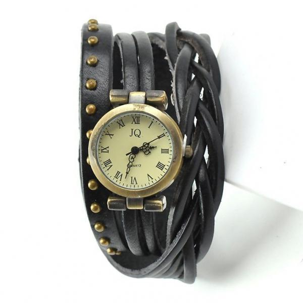 Leather black Strap Dress Wrap Woman Watch