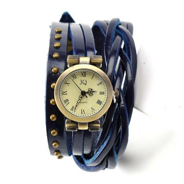 Leather blue Strap Dress Wrap Woman Watch