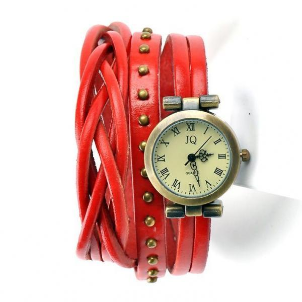 Leather red Strap Dress Wrap Woman Watch