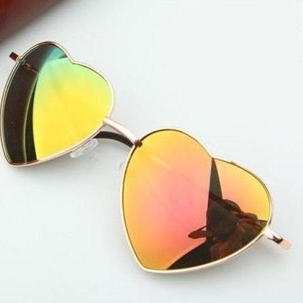 Heart-shaped orange Valentine gift reflective lenses girl sunglasses