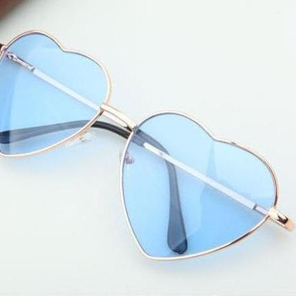 Heart-shaped blue Valentine gift reflective lenses girl sunglasses