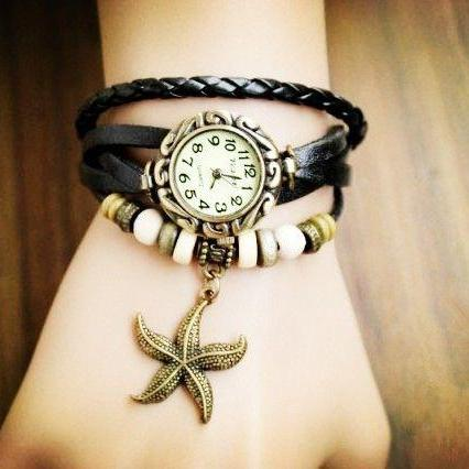 Star Pendant black Leather Vintage Girl Watch
