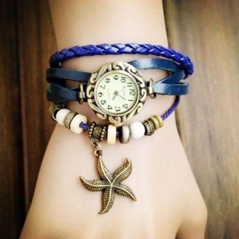 Star Pendant blue Leather Vintage Girl Watch