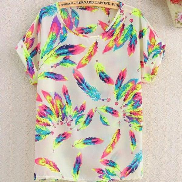 Floral party colorful Shirt Print Love Tee Girl Top