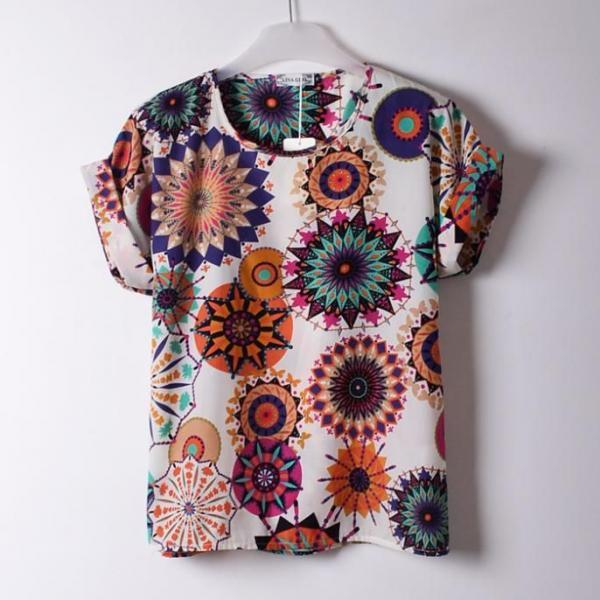 Colorful Shirt Print clothing summer Tee Girl Top