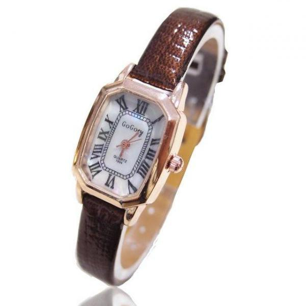 Thin belt brown leather elegant evening woman watch