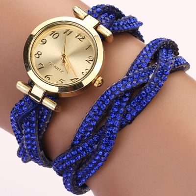 Rhinestones bracelet Wrap prom blue Girl Watch