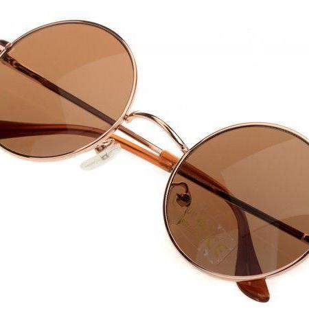 Fashion round brown lenses girl sunglasses