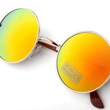 Fashion round yellow lenses girl sunglasses
