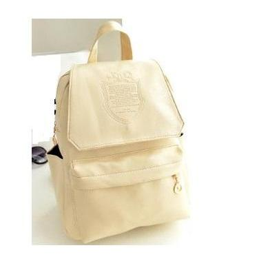 Fashion college girl beige Pu leather cool backpack