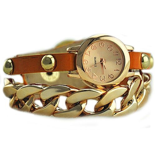 Gold colored chain - leather orange band dress woman watch