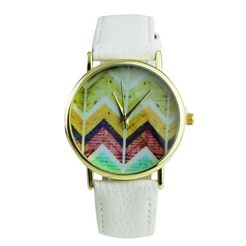 Colorful Chevron Print Leather Watch