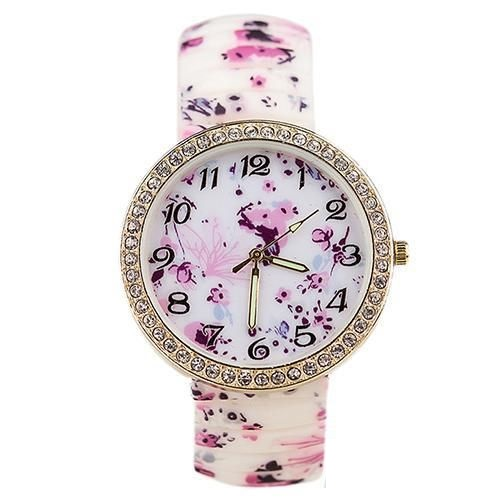Floral dress rubber woman fashion watch