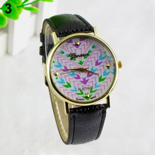 Colorful retro Pu leather band teen black girl watch