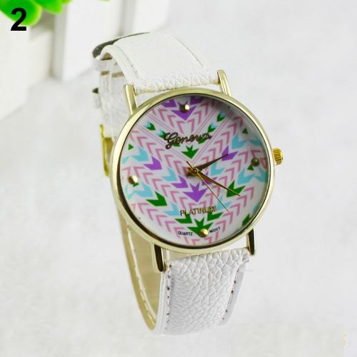 Colorful retro Pu leather band teen white girl watch