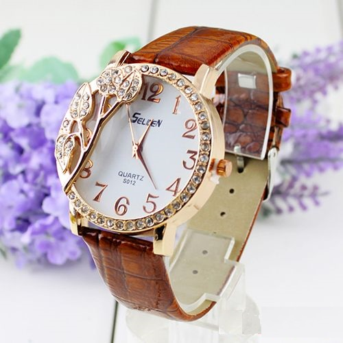 Rhinestones leaves brown leather band woman watch