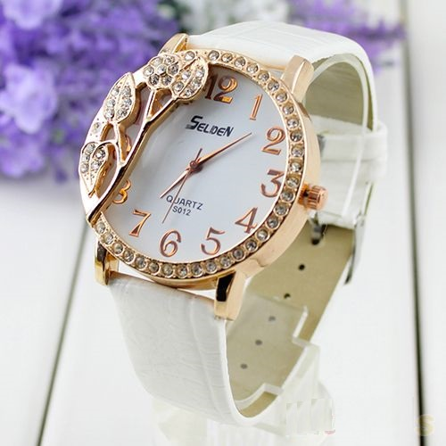 Rhinestones leaves white leather band woman watch