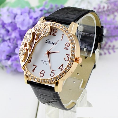 Rhinestones leaves black leather band woman watch