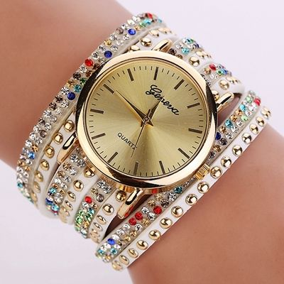 Fashion Bracelet Rhinestones Dress Colorful Girl Watch