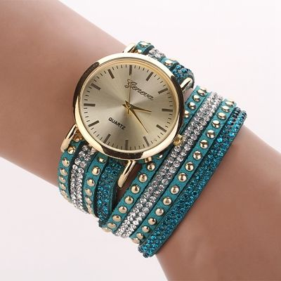 Fashion Bracelet Rhinestones Dress Lake Blue Girl Watch