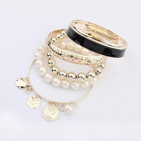Trendy pearls coins and chain charm black woman bracelet