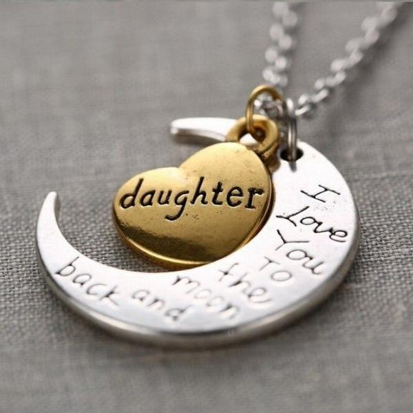 Daughter I Love You To The Moon And Back Necklace On Luulla