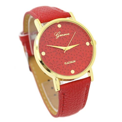 Cute Floral Teen Girl Red Party Watch