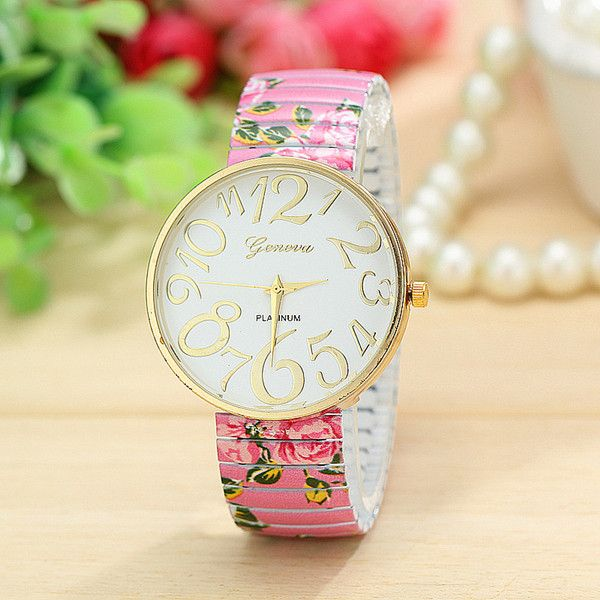 Floral fashion summer party girl teen pink watch