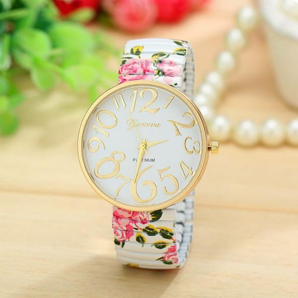 Floral fashion summer party girl teen white watch