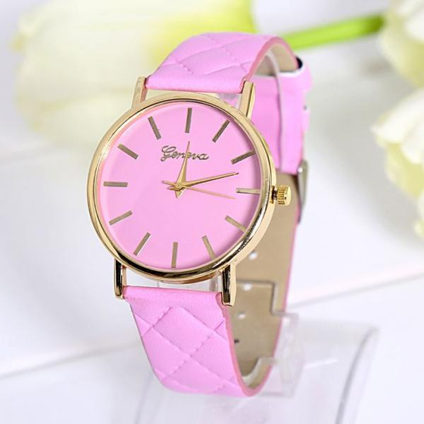 Fashion lady dress pink PU leather band watch