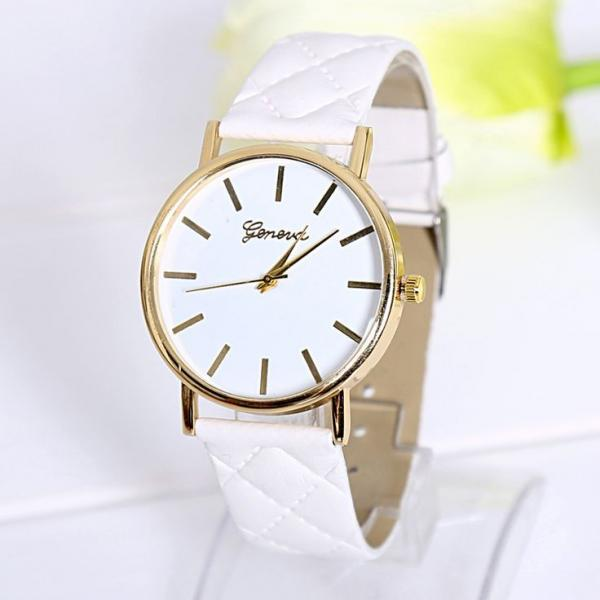 Fashion lady dress white PU leather band watch