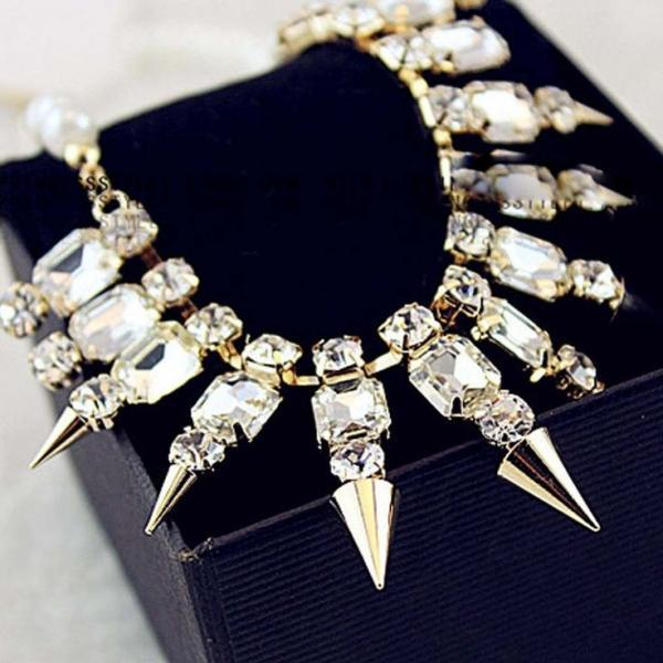 Punk fashion statement spikes woman necklace