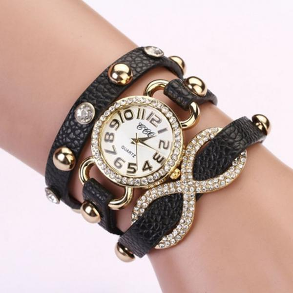 Dress luxury rhinestones black prom woman watch